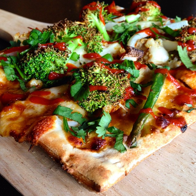 P.O.W. Pizza of the Week!  Teriyaki chicken and broccoli with Sriracha drizzle!
